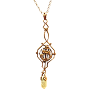 Vintage 1920s 10K rose gold US Navy lavalier pendant with pearl