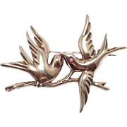 Vintage 1940s sterling love birds brooch with rose gold wash