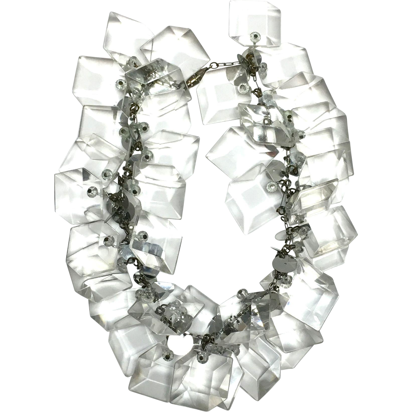 Vintage 1960s Lucite prism chunky modernist unsigned necklace