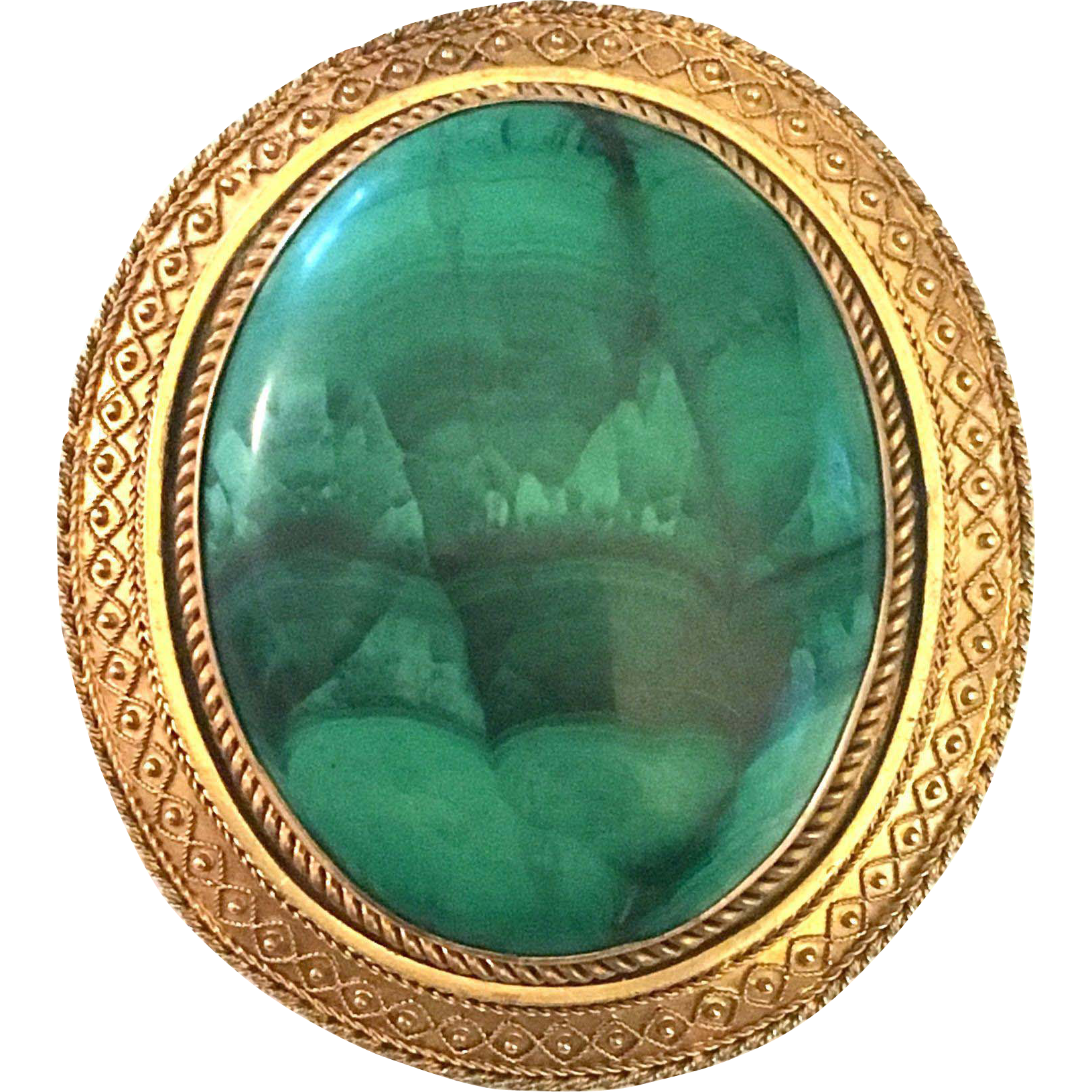 Antique Victorian Etruscan revival 18 karat yellow gold malachite cabochon large brooch