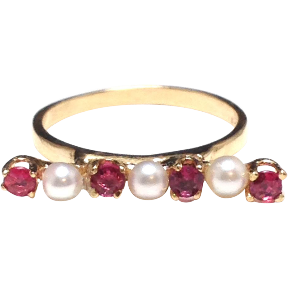 Linear 14k Gold Modernist Stick pin Conversion Ring with Rubies and Pearls