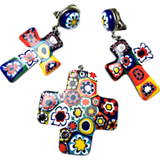 Vintage Murano Glass multi colored pendant and matching cross earrings