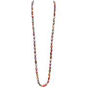 Vintage Super long colorful Murano Glass Oval Beads 43 inches