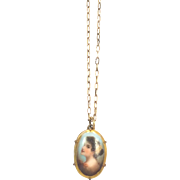 Vintage 1940s Painted Porcelain Portrait Necklace with Gold Fill Chain
