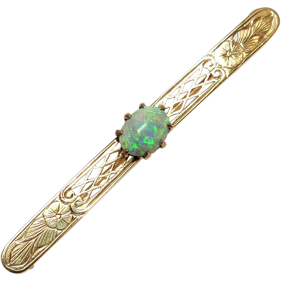 Antique solid 14k yellow gold exceptional bar pin with large vibrant Opal cabochon