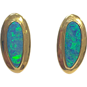 Vintage 1980s 18 K Yellow Gold and Black Opal Pierced Stud Earrings