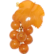 18k Yellow Gold Orange Russian Amber Grape Pendent or Brooch