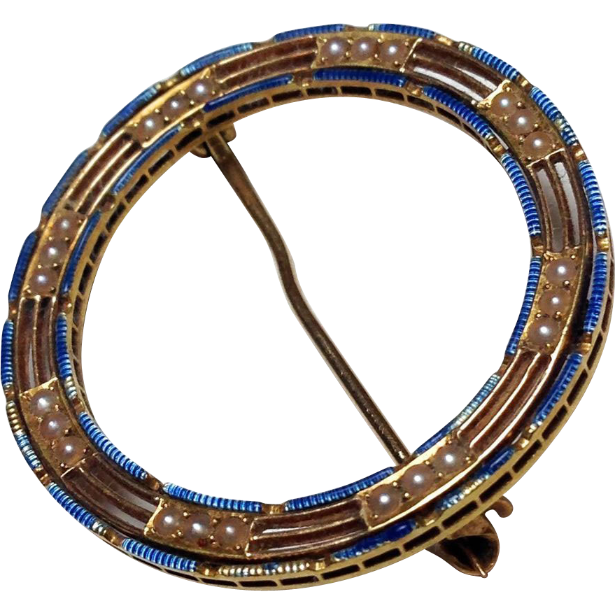 Antique 14k Yellow Gold, Blue Enamel, and Seed Pearl Victorian Wreath Pin Brooch