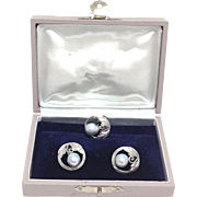 Vintage Signed Silver and pale Blue Pearl cufflinks and tie tack