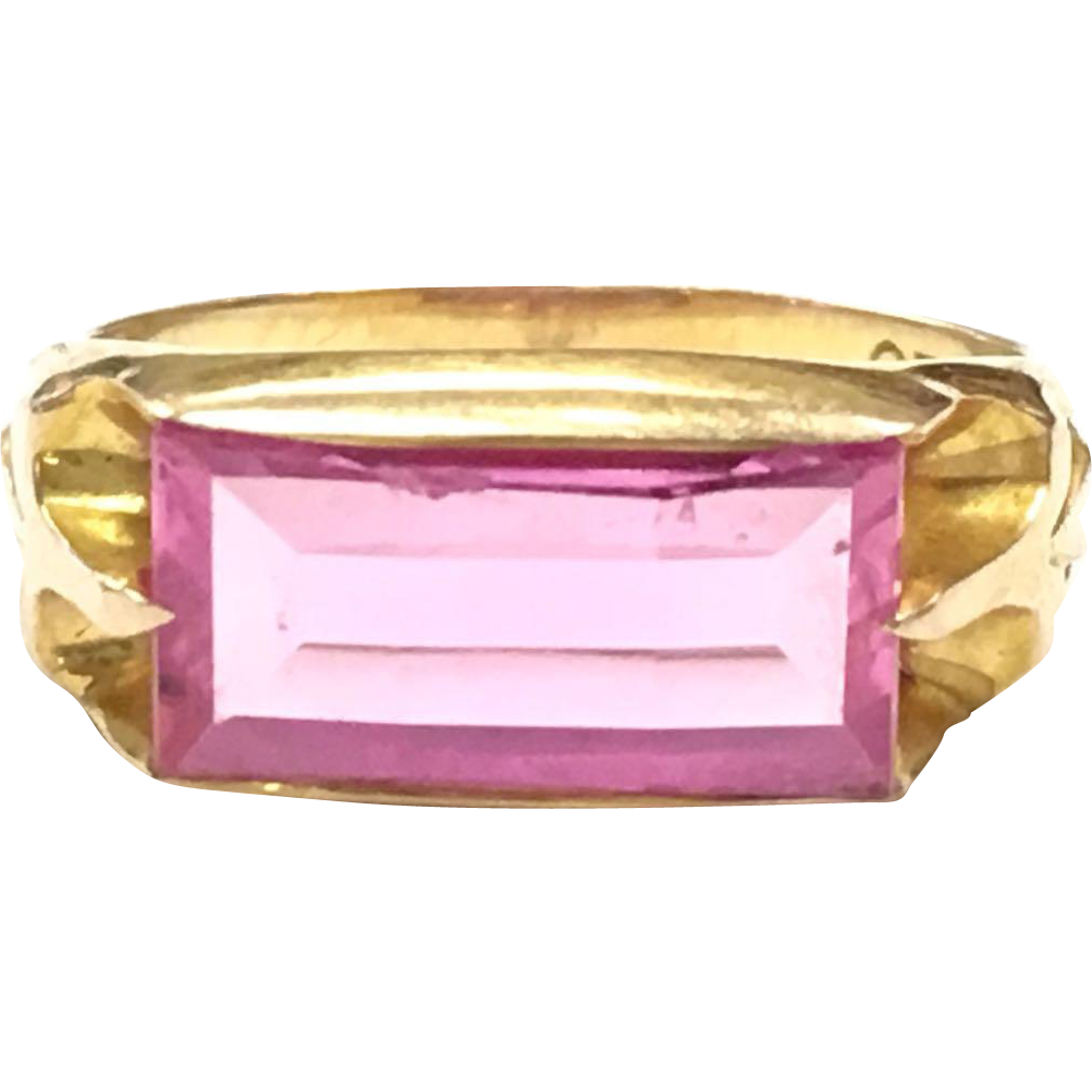 Vintage Ostby Barton 10k Yellow Gold Ring with oblong Pink Stone
