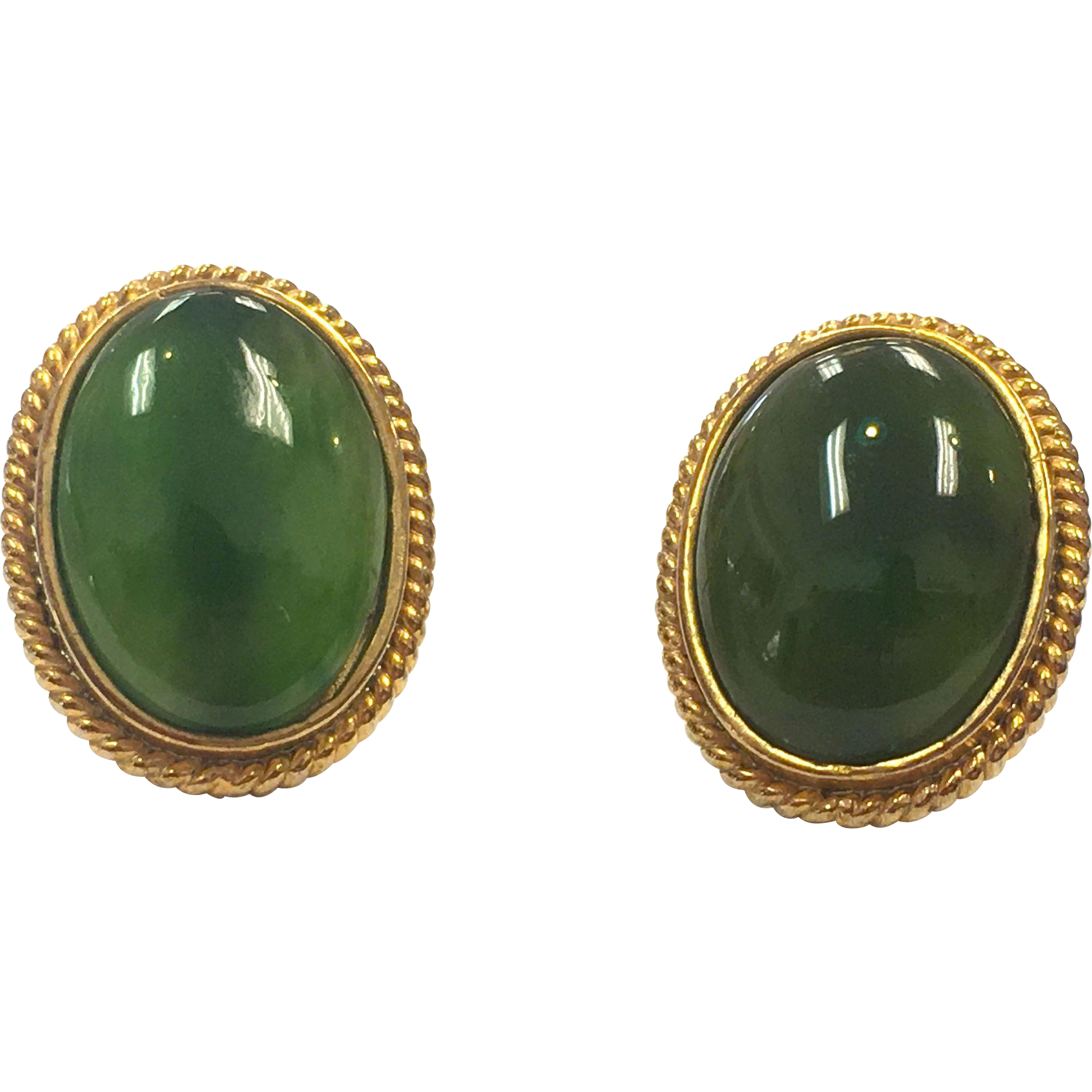 Vintage Jade Cabochon and 14 K yellow gold Pierced Earrings