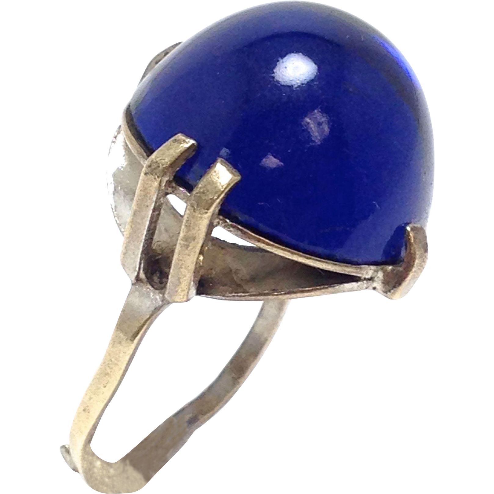 VINTAGE Rare Arts & Crafts Pools of Light Art Deco Sterling Silver Rock Navy Blue Ring