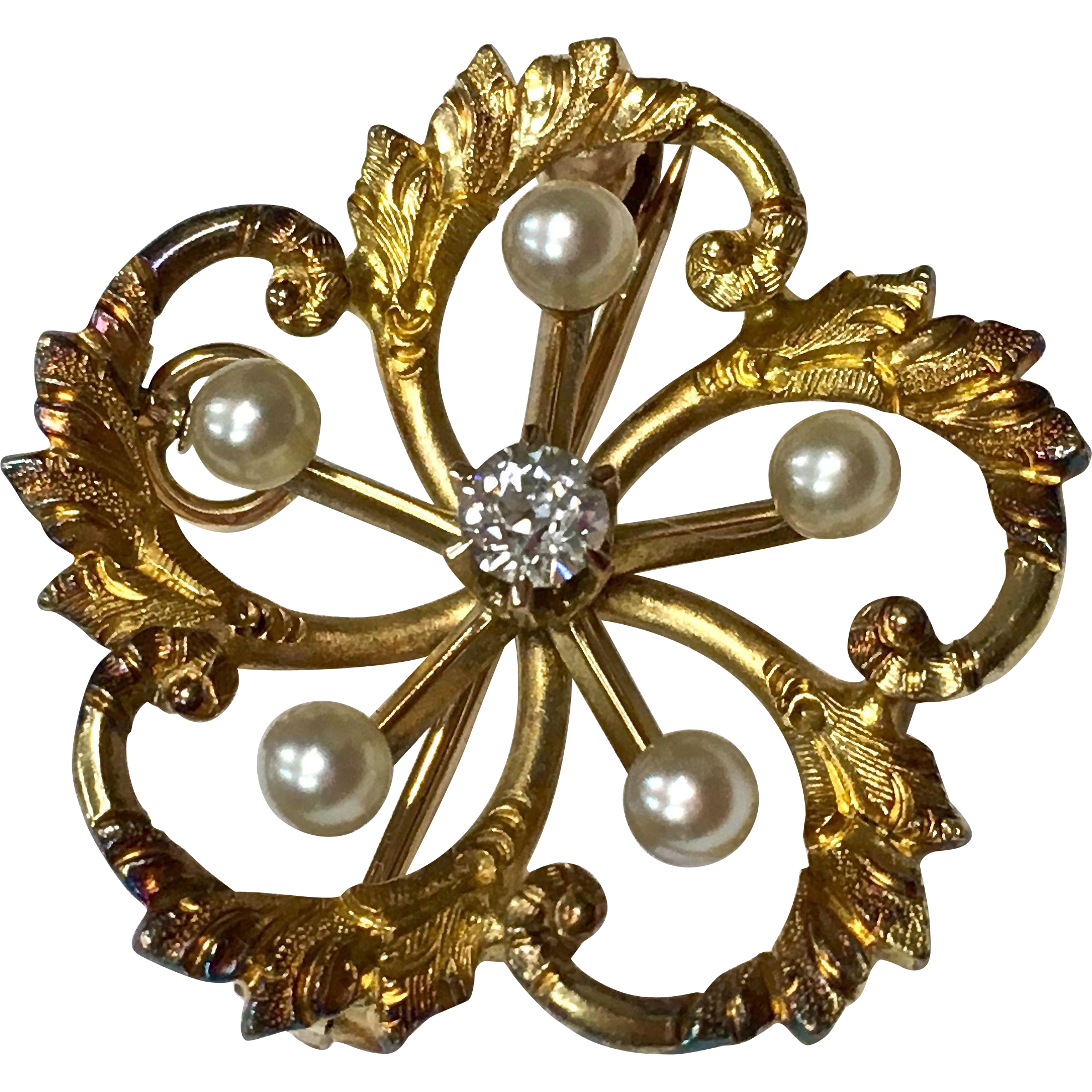 Antique Victorian 14 k yellow gold diamond and pearl love knot pin or pendant