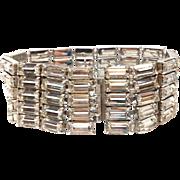 Vintage 1950s Silver Tone Large Baguette Rhinestone Bracelet