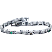 Antique Rhodium plated Art Deco Filigree articulated bracelet signed JHP