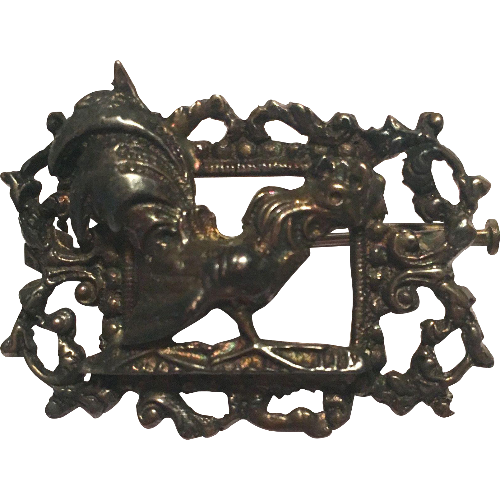 Vintage unusual silver rooster novelty brooch