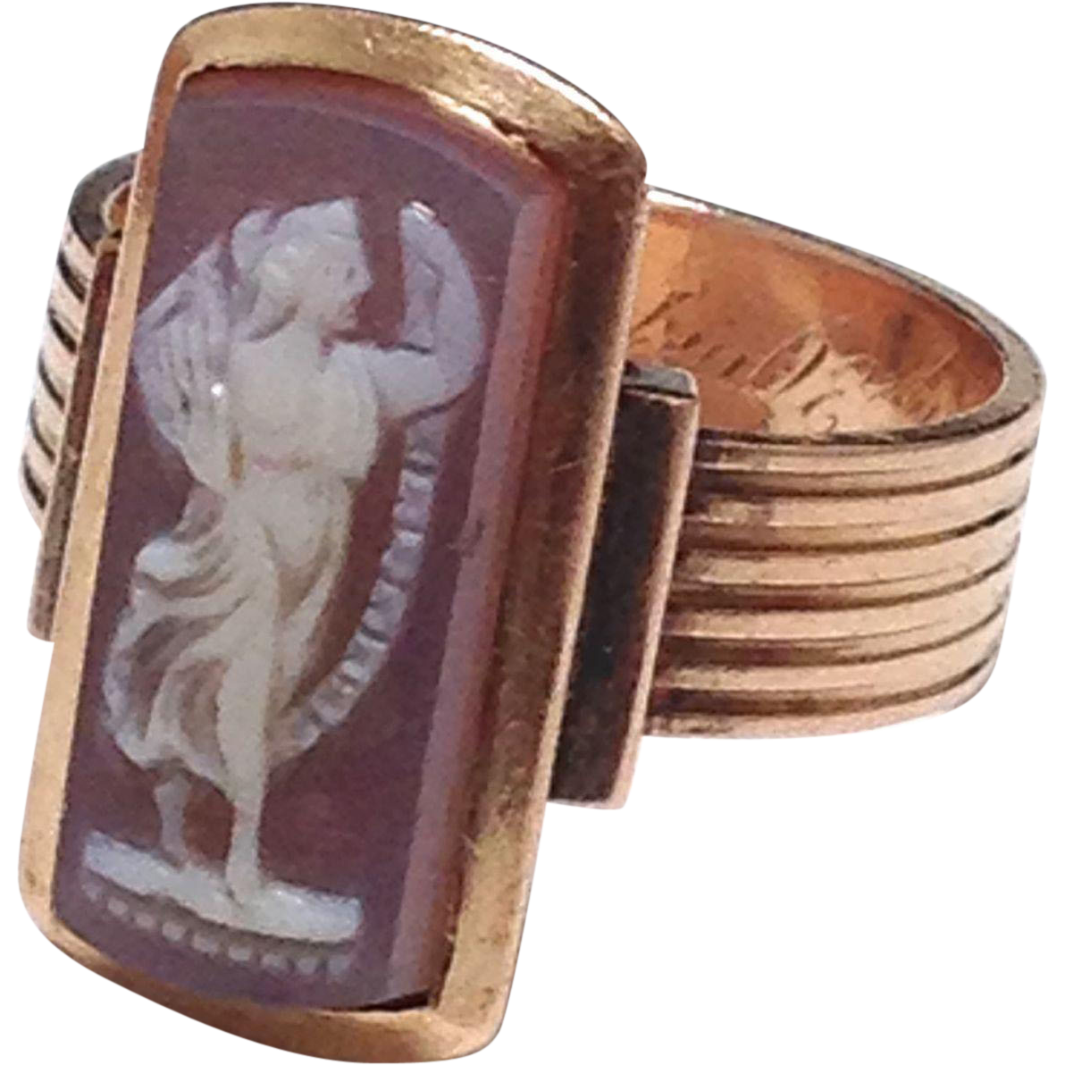 Antique Victorian Mourning Rose gold Sardonyx Figural Cameo ring with 1875 Inscription