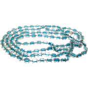 Vintage 1920s Art Deco Aqua Blue and Clear Glass Bead Necklace