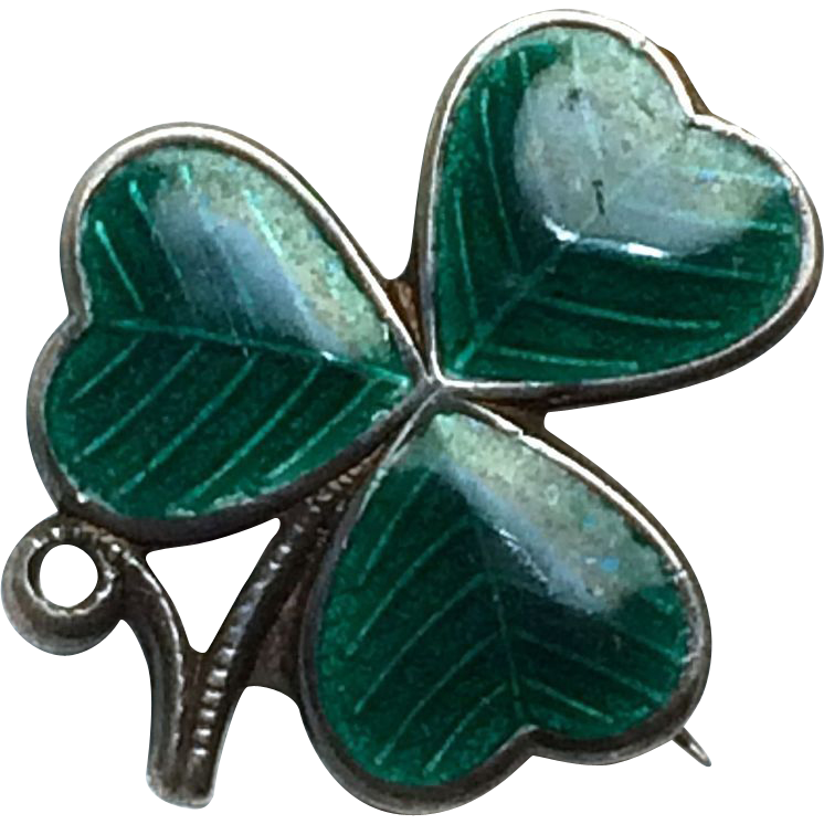 Vintage Sterling Silver Enamel three leaf clover with makers mark