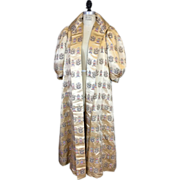 Vintage 1960s Silk Brocade Evening Coat with Dragon Motif