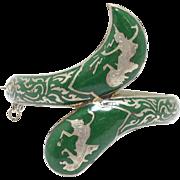 Rare Vintage Siam Ethnic Snake Bracelet Sage Green Enamel Niello Sterling Silver Signed