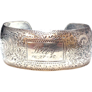 Sterling Silver 1940s engraved cuff for Betty