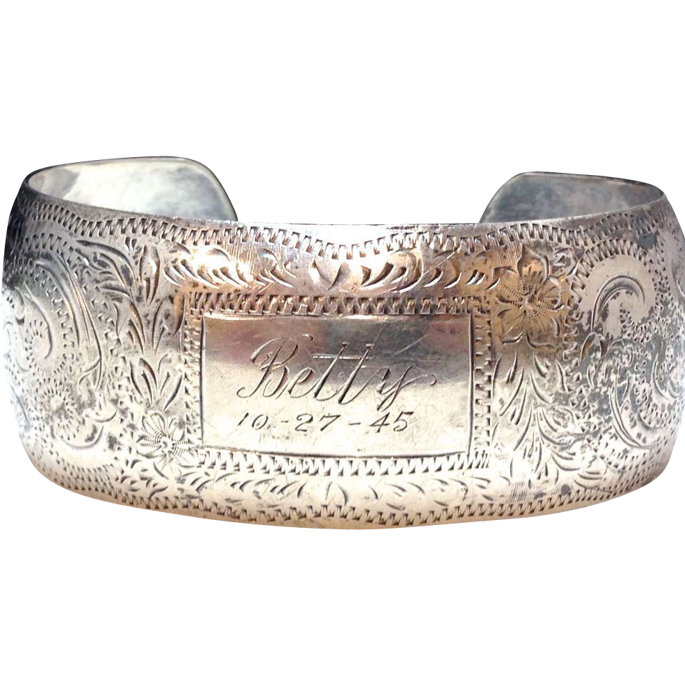 Vintage Sterling Silver 1940s personalized engraved cuff for Betty 10-27-45
