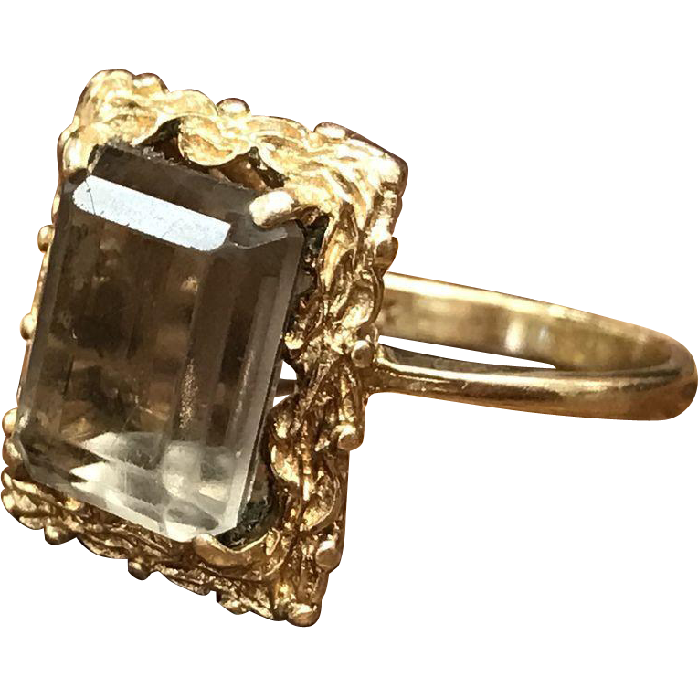 Vintage 1960s 14K yellow gold emerald cut smoky topaz ring