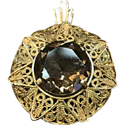 Vintage 14k solid yellow gold filigree smoky quartz smoky topaz brooch or pendant