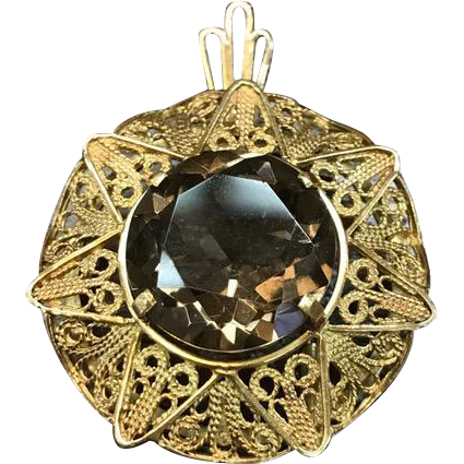 Israel 14K Solid Yellow Gold filigree smoky quartz brooch or pendant