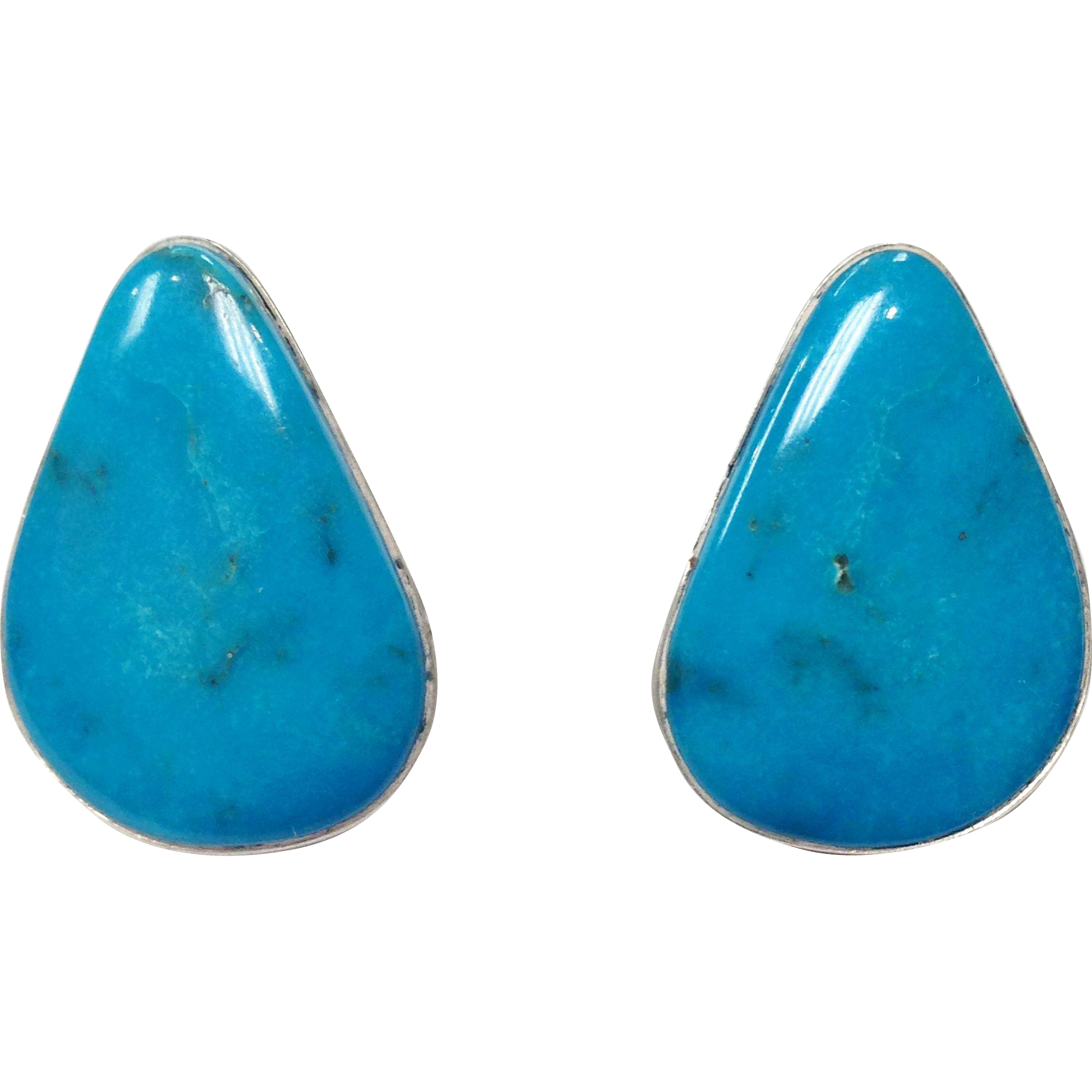Vintage Beautiful Signed Teardrop Turquoise and Sterling Silver Pierced Earrings by Bernard Barton