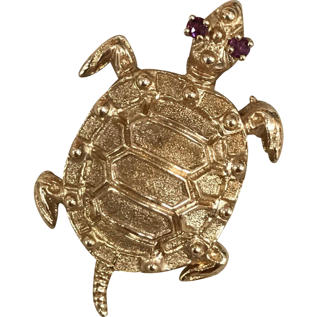 Vintage Danker and Sons Signed 14K Solid Yellow Gold Swimming Sea Turtle Pin with Ruby Eyes