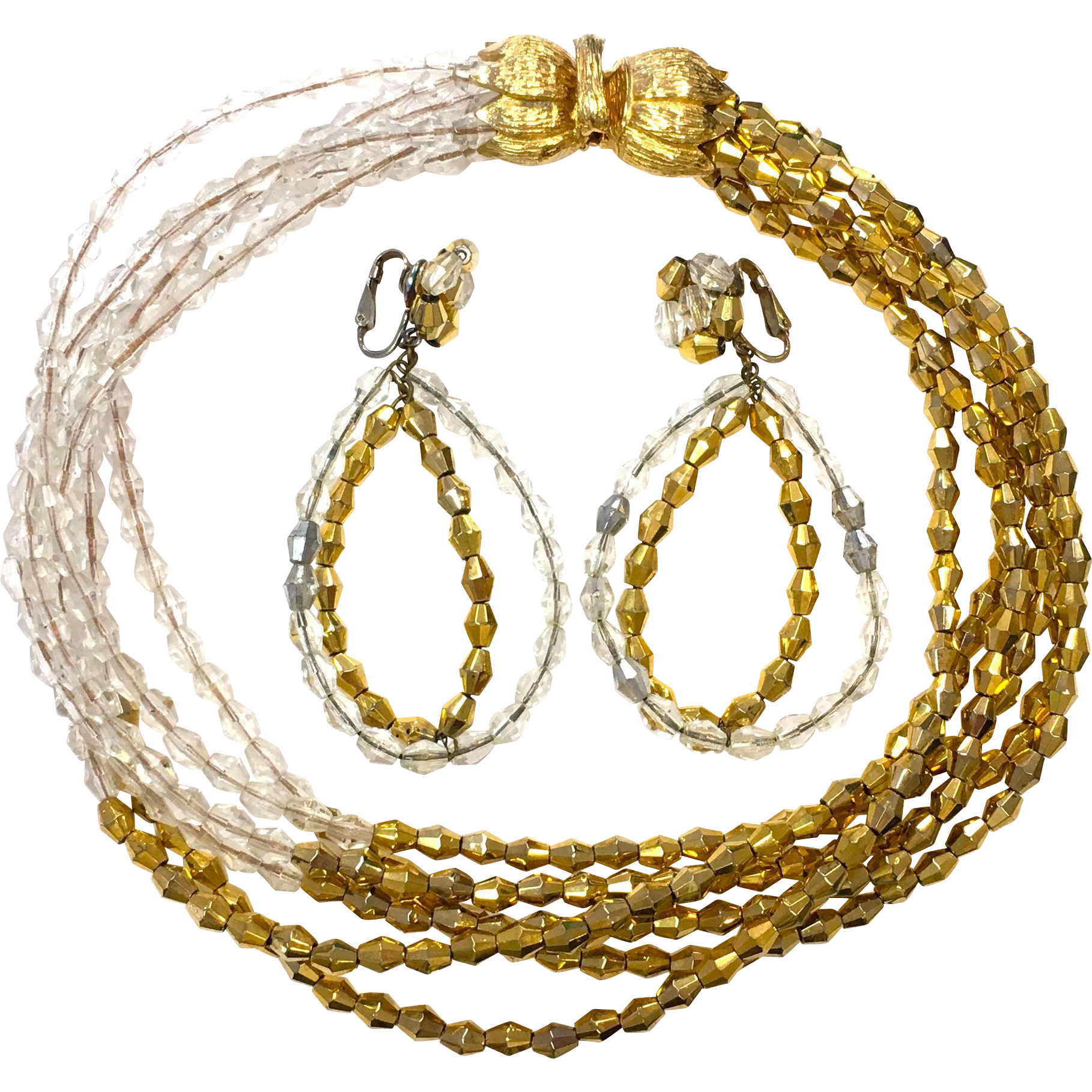 Vintage 1960s Vogue jewelry clear and gold crystal necklace and matching drop earring set