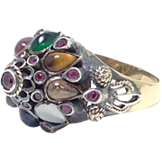 STUNNING 18k gold and Gemstone Princess Ring with Sapphire Ruby Emerald Tigers Eye and Citrine