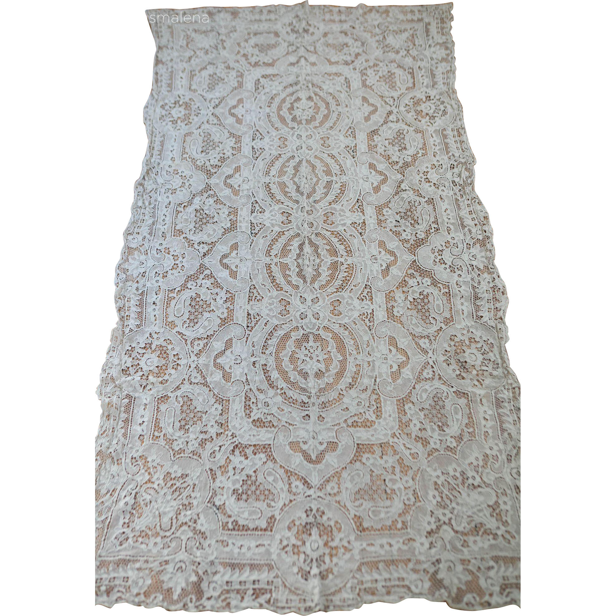 Antique Handmade Italian Reticella Point de Venise Needlelace Floral Banquet Tablecloth or Bedspread
