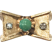 Vintage 1940s Unique 14k Yellow Gold Diamond and Green Turquoise Bow Motif Ring