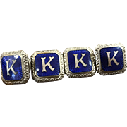 "Antique blue guilloche enamel ""K"" ladies or men's snap lock cufflinks"