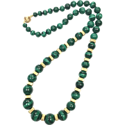 Vintage 1980s Malachite Graduated Bead Necklace with 14K Yellow Gold Spacers