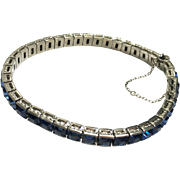 Vintage 1920s Art Deco Sterling Silver Channel Set Blue Square Rhinestone Line Bracelet