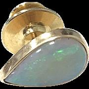 Incredible 1960s Vibrant Opal Teardrop Men's Tie Tack in 14 karat Yellow Gold