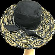 Vintage rare 1950s Elsa Schiaparelli wide brim black raffia derby hat