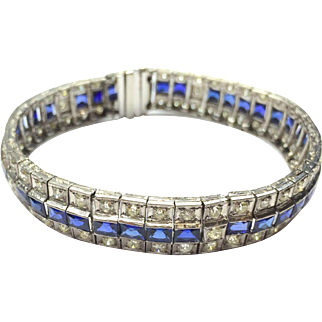 Vintage Art Deco 1920s Platinum Tennis Bracelet with Old European and Round Cut Diamonds and Rectangular Cut Sapphires