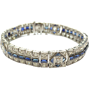 Vintage Art Deco 1920s Platinum Tennis Bracelet with Old European and Round Cut Diamonds and Rectangular and Triangular Cut Sapphires