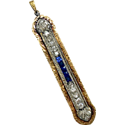 Vintage Art Deco 1920s 14k Solid White Gold and Yellow Gold Pendant with Round Cut Diamonds and Square Sapphires