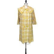 Vintage Yellow Plaid Wool Jacket with Bertha collar with Fringe detailing and three quarter length sleeves