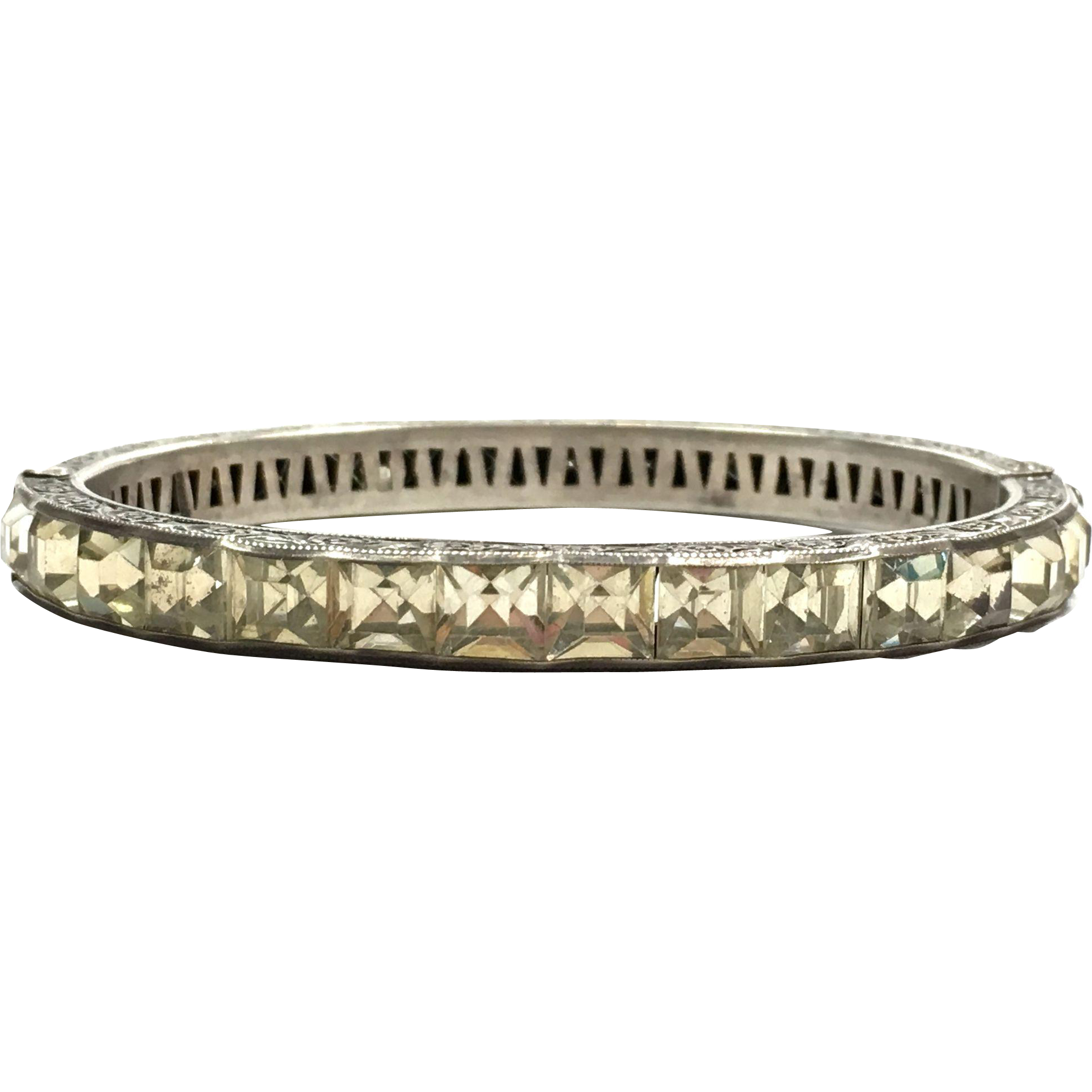 Vintage 1920s Art Deco wide sterling clamper bangle bracelet with clear stones