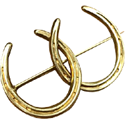 Vintage solid 14k gold entwined double horseshoe pin horse stock pin equestrian brooch