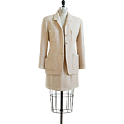 Vintage Chanel Pale blush Pink Wool Blazer and Skirt Set with logo CC buttons
