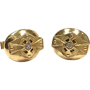 Vintage 1960s 14k yellow gold Art Nouveau inspired unisex cufflinks with diamonds