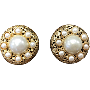Vintage Authentic Designer Chanel Imitation Pearl and Gold Tone Statement Earrings Clip On Earrings